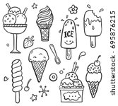hand drawn set of doodle with... | Shutterstock .eps vector #695876215