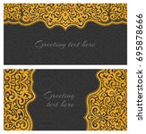 set of elegant lace greeting... | Shutterstock . vector #695878666