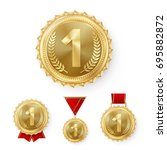 champion gold medals set vector.... | Shutterstock .eps vector #695882872