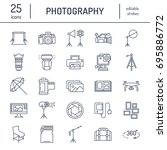 photography equipment flat line ... | Shutterstock .eps vector #695886772