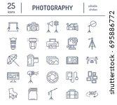photography equipment flat line ... | Shutterstock .eps vector #695886772