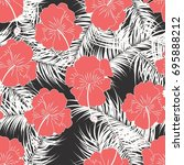 seamless tropical pattern with... | Shutterstock .eps vector #695888212