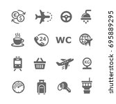 airport icons set | Shutterstock .eps vector #695889295