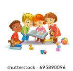 group of happy kids reading... | Shutterstock .eps vector #695890096