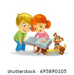 girl and boy reading book with... | Shutterstock .eps vector #695890105