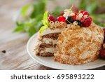 Homemade Honey Cake With Sour...