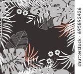 summer seamless tropical... | Shutterstock .eps vector #695893426