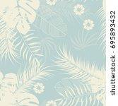 summer seamless tropical... | Shutterstock .eps vector #695893432