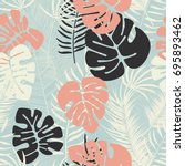 summer seamless tropical... | Shutterstock .eps vector #695893462
