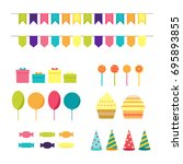 vector set of birthday elements | Shutterstock .eps vector #695893855