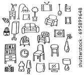 hand drawn doodle set of living ... | Shutterstock .eps vector #695899648