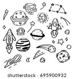 hand drawn doodle set of space. | Shutterstock .eps vector #695900932