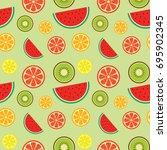 fruit seamless pattern.... | Shutterstock .eps vector #695902345