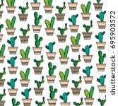 cactus pattern vector | Shutterstock .eps vector #695903572