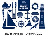 set of isolated silhouette... | Shutterstock .eps vector #695907202