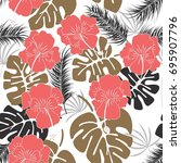 seamless tropical pattern with... | Shutterstock .eps vector #695907796
