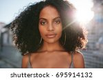 close up portrait of beautiful... | Shutterstock . vector #695914132
