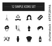 set of 12 editable hairdresser...