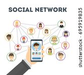 social network concept. hand...   Shutterstock .eps vector #695919835