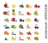 fruits illustrations set on... | Shutterstock .eps vector #695921638