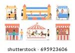 amusement park set.... | Shutterstock .eps vector #695923606