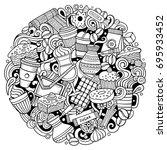 cartoon vector doodles coffee... | Shutterstock .eps vector #695933452