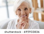 nice positive woman looking at... | Shutterstock . vector #695933836