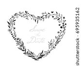 floral wreath in shape of heart ... | Shutterstock .eps vector #695935162