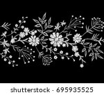 embroidery white lace border... | Shutterstock .eps vector #695935525