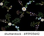 embroidery trend floral... | Shutterstock .eps vector #695935642