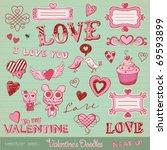 vector set  valentine's doodles ... | Shutterstock .eps vector #69593899
