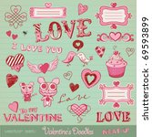 vector set: Valentine's doodles - lots of cute design elements