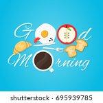 good morning card. fried eggs ... | Shutterstock .eps vector #695939785