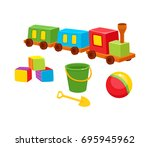first baby toys   wooden train  ... | Shutterstock .eps vector #695945962