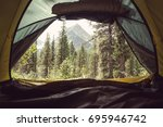 view from the inside of tent at ... | Shutterstock . vector #695946742