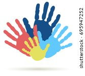 handprint of family  team. palm ... | Shutterstock .eps vector #695947252