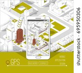 mobile gps and tracking concept.... | Shutterstock .eps vector #695950306