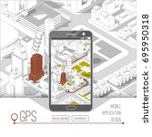 mobile gps and tracking concept.... | Shutterstock .eps vector #695950318