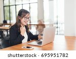 asian young business freelance... | Shutterstock . vector #695951782