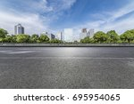 empty road with modern business ... | Shutterstock . vector #695954065