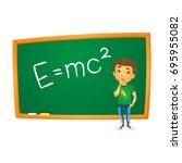 vector cartoon school boy... | Shutterstock .eps vector #695955082