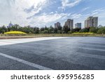 empty road with modern business ... | Shutterstock . vector #695956285