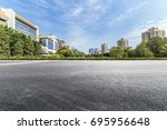empty road with modern business ... | Shutterstock . vector #695956648