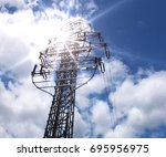 in the blue sky with white... | Shutterstock . vector #695956975