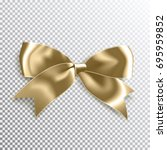 realistic satin gold bow knot.... | Shutterstock .eps vector #695959852