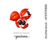 superfood fruit. guarana open... | Shutterstock .eps vector #695959888
