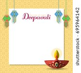 diwali message notes or copy... | Shutterstock .eps vector #695964142