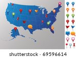 Usa Map With Gps Icons. Every...