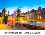 tallinn  estonia. people... | Shutterstock . vector #695966206