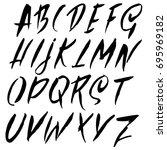 hand drawn dry brush font.... | Shutterstock .eps vector #695969182